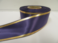 Dark Purple with Metallic Gold Tramlines Satin Ribbon  2 or 20 metres 25mm 38mm Roll (1)